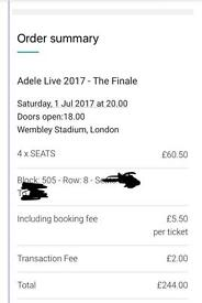 Adele seated tickets x4 - Saturday 1st July @ Wembley Stadium