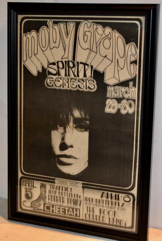 MOBY GRAPE 1968 GENESIS SPIRIT CHEETAH CLUB ORIGINAL CONCERT FRAMED POSTER / AD