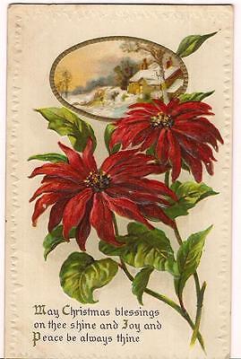 Snow Laden Cottage Poinsettia Flowers Christmas Blessings Poem UNUSED Postcard ()