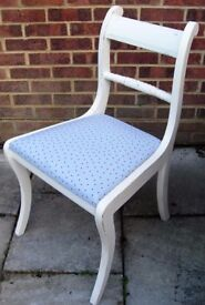 Gorgeous Rope back Chair Painted in Antique White and reupholstered in any fabric