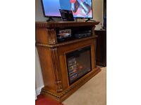 ClassicFlame Solid Wood TV Stand and Electric Fire with infrared heating, Half Price - New