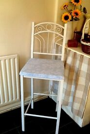 2X WHITE & DUCKEGG HIGH CHAIRS/STOOLS