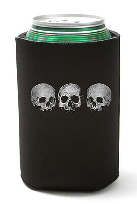 3 Skull Can Koozie Goth Coolie Bottle Cooler Drink Cozy Pirate Punk Metal Three