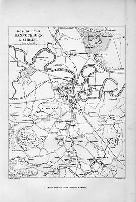 1879 illustration: battlefields of bannockburn map