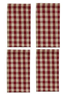 Park Designs Crochet Red Gingham Cloth Napkins, Set of 4 - Red Cloth Napkins