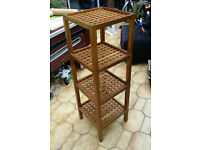 Lattice wood corner shelves (used) for sale.