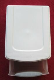 STERLITE - storage box/unit with lid, pull out drawer, white and clear 16 x 13 good condition