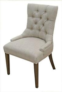 Accent Tufted Fabric Dining Chair in Neutral Linen, Charcoal, Red, Tan and Blue or Black Velvet