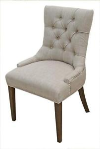 Accent Tufted Fabric Dining Chair in Neutral Linen, Charcoal, Red, Tan and Blueor Black Velvet