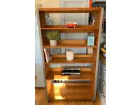 Bookcase/Shelving Unit on Castor Wheels - Solid Pine