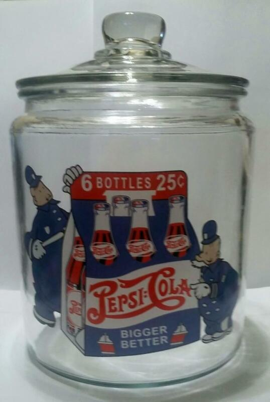 "A Hard to Find Pepsi Cola ""Pepsi Cops"" Glass Counter Jar"