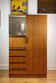 Mid Century Teak Compact Wardrobe with Drawers by Avalon FREE LOCAL DELIVERY