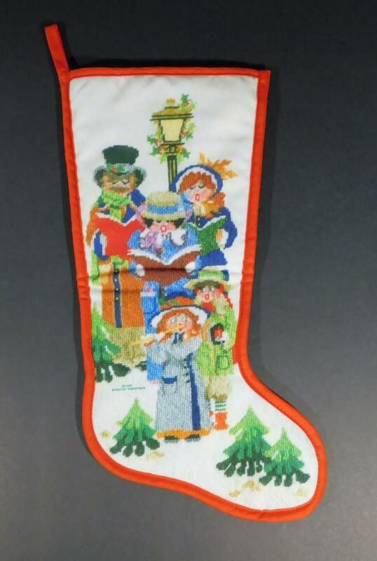 """Vintage 1985 STRICTLY CHRISTMAS STOCKING ~ Victorian Christmas Carolers 19"""" Long"""