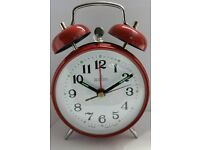 Acctim Selworth Keywound Wind Up Double Bell Alarm Clock Bedside Red