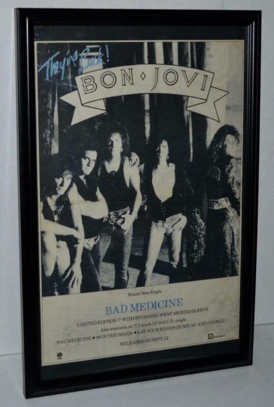 BON JOVI 1988 BAD MEDICINE SINGLE FRAMED PROMOTIONAL POSTER / AD JON BON JOVI