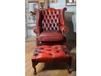 Chesterfield Queen Anne High Back Wing Chair Oxblood Leather & Footstool