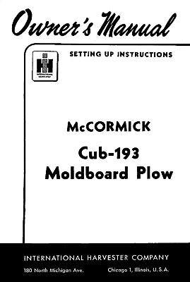 Farmall Cub 193 Moldboard Plow Operators Manual 1-006-655-r7