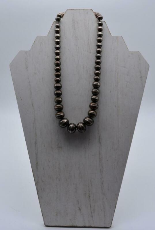 Vintage Hand Made Stamped Graduated Sterling Silver Navajo Pearls Necklace