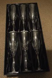 Thomas Webb crystal champagne flutes (6)
