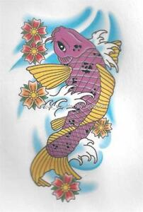 Koi fish chinese purple and yellow temporary tattoo ebay for Purple koi fish for sale
