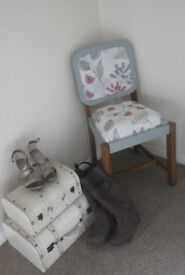 Shabby chic, country style wooden chair. Floral print cotton fabric