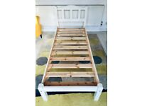 "Narrow bed frame (2'6"") - ideal for child - white pine - used - good condition"