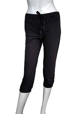 (NEW WOMEN'S CAPRI PLAIN PANTS Elastic waistband DRAWSTRING BLACK SIZE S M L XL)