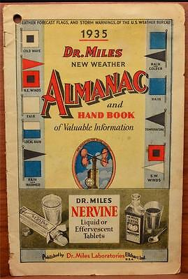 1935 Dr. Miles Nervine Tonic Weather Almanac Hand Book Alka Seltzer Advertising - Nervine Tonic