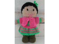 Childrens Hand knitted doll Little Girl.