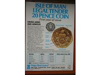 Sliver proof 20p coin viking arms and Armour Isle of Man