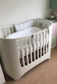 Leander cot/ junior bed in white with brand new cot mattress