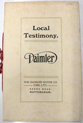 DAIMLER Local Testimony Original Car Sales Brochure 1910