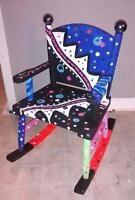 one of a kind hand painted childs rocking chair$45 obo