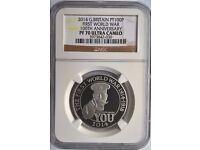 Rare £100 Platinum Proof 'Kitchener' 1 oz Coin 2014 - NGC PF 70 Ultra Cameo
