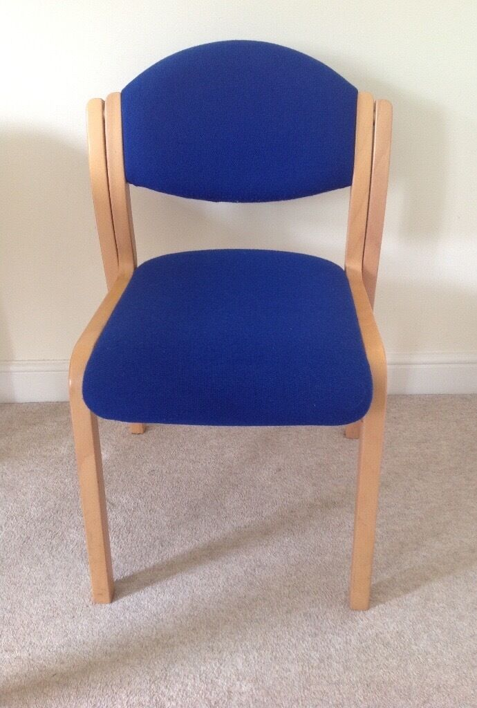 ROYAL BLUE UPHOLSTERED SOLID LIGHT WOOD DINING HALL OFFICE CONFERENCE  WAITING ROOM CHAIR | in Milton Keynes, Buckinghamshire | Gumtree