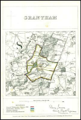 1868 Lincolnshire Boundary Commission Ordnance MAP PLAN of GRANTHAM (BC63)
