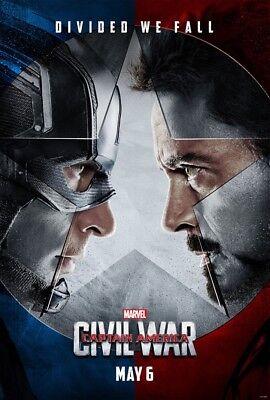 Captain America Civil War Movie Poster 2 Sided Original Advance Nm 27X40