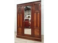 Victorian Walnut Triple Wardrobe (DELIVERY AVAILABLE FOR THIS ITEM OF FURNITURE)