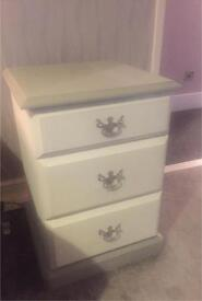 Set of bedside cabinets chalk painted shabby chic white + grey