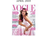 Vogue Magazine April 2005, pre loved condition is good Priced low, Big collection available
