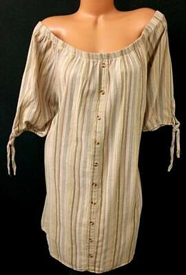 Speed Control Brown Striped Faux Button Down Tie Knot Off The Shoulder Dress 3x