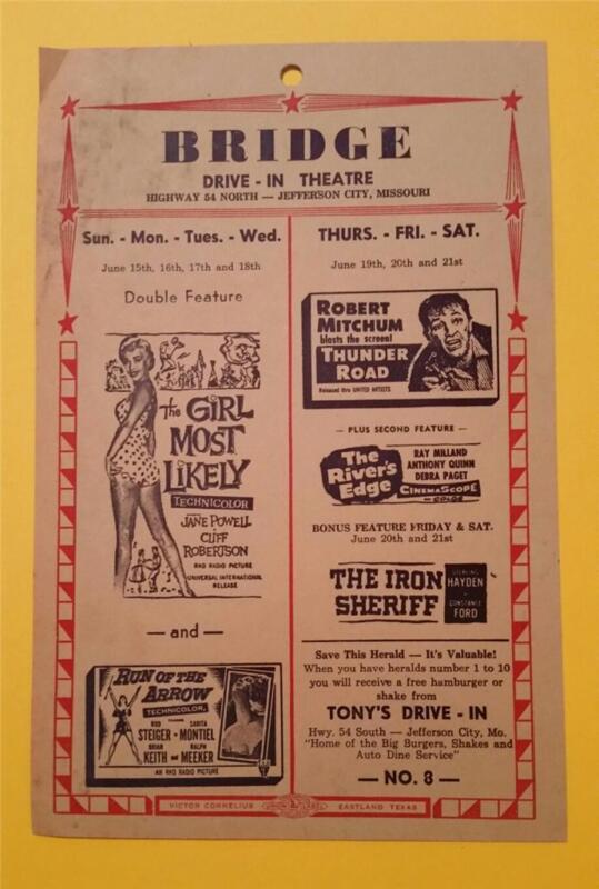 SUPER RARE VINTAGE 1957 BRIDGE DRIVE-INN THEATRE PIN UP FLYER JEFFERSON CITY, MO