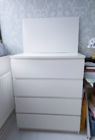 Ikea MALM Chest of 4 drawers + Glass Top
