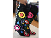 Stunning Brand New beautifully vibrant embroidered boots, Planet, Size 5