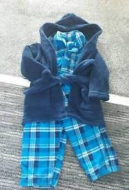 Boy's Pyjama & Dressing Gown Set 6-12 Month's