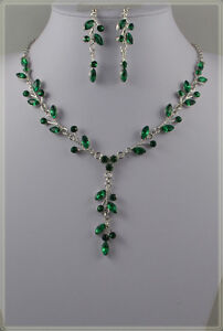 LILAC, BLUE & EMERALD GREEN  FLOWER AND LEAF CRYSTAL NECKLACE SET