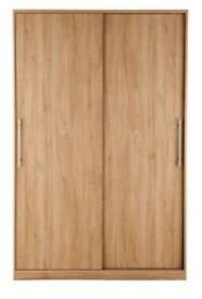 Prague Sliding 2-Door Wardrobe, *Oak-Effect* Height 199, Width 123, Depth 62 cm