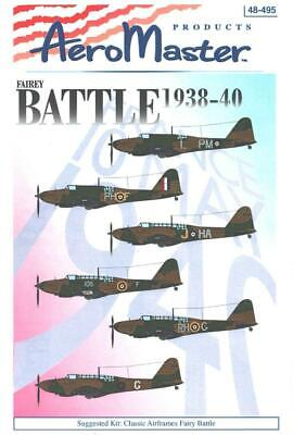 1:48 Fairey Battle 1938-40 AeroMaster Scale Model Decals Decal Sheet NOS 495