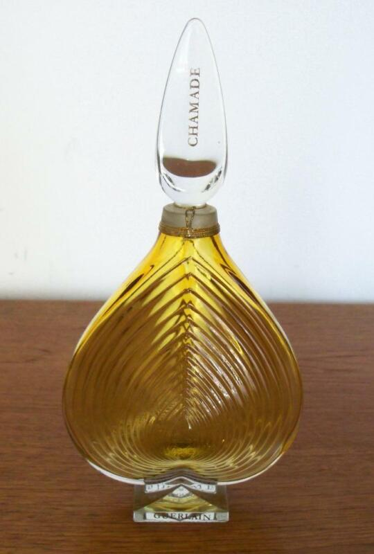 GUERLAIN CHAMADE PERFUME BOTTLE EMPTY 4 OZ MADE IN FRANCE STOPPER ATTACHED 8.5""
