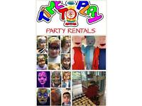 Bouncy castles face painting soft play mascots popcorn kart ball pools and more